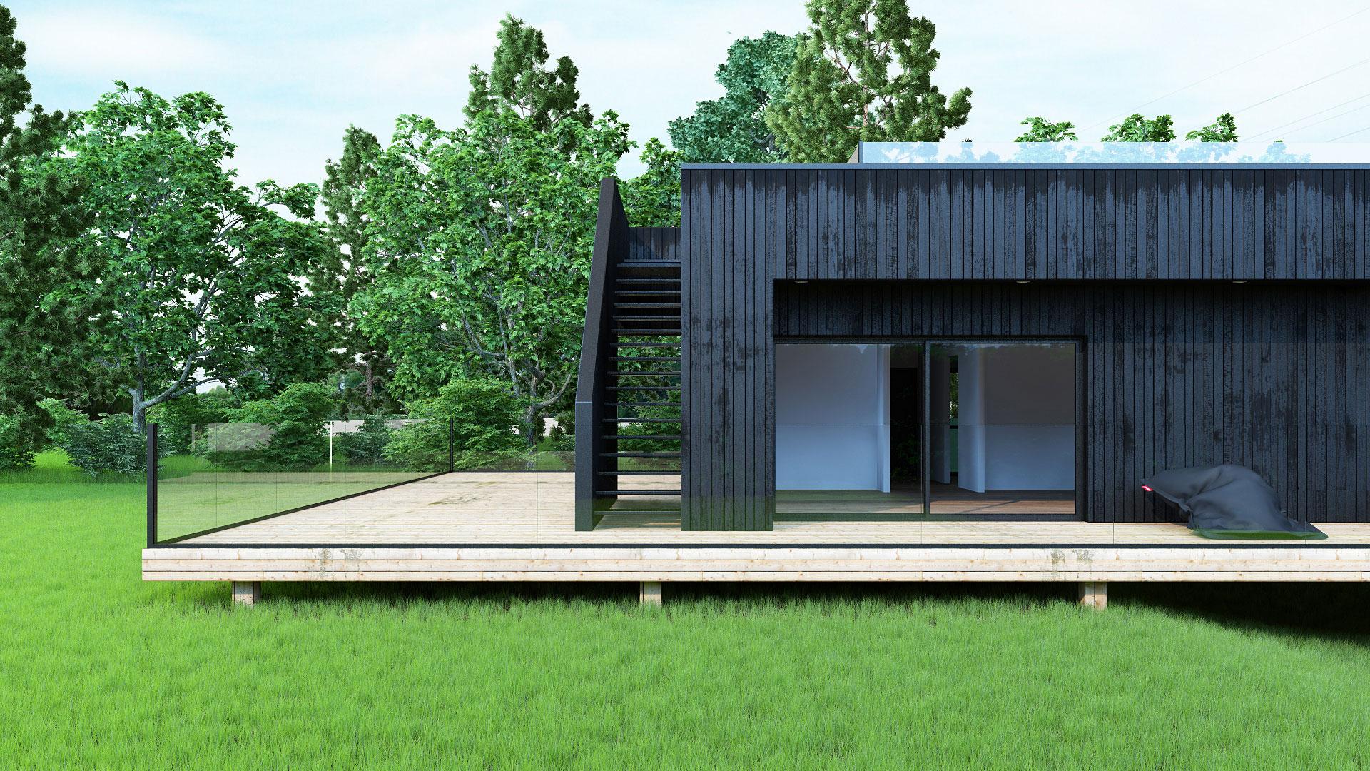 maison bois noir, image 3d maison, image 3d architecture, illustration 3d maison, terrasse bois, insertion dans le site, illustration pour permis de construire, image permis de construire, 3d exterieur realiste, graphisme 3d