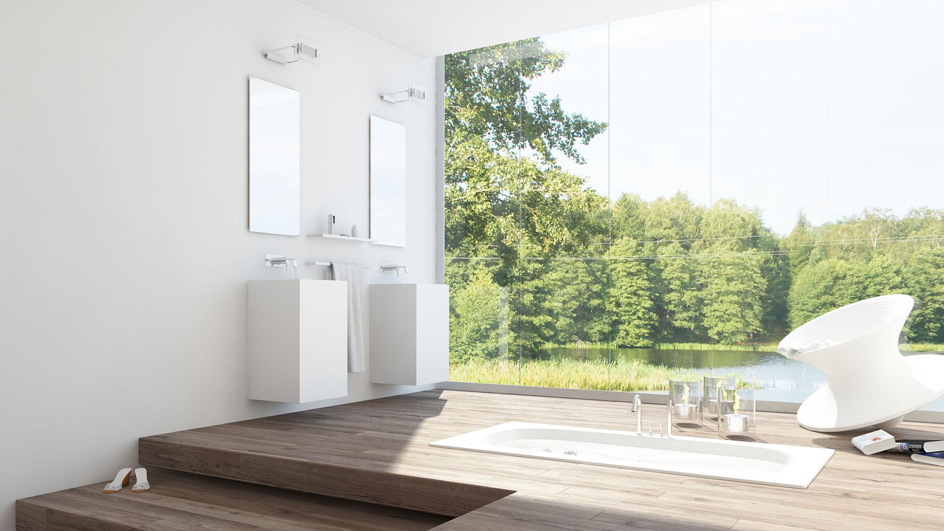 salle de bain design, baignoir encastrée au sol, Spunchair, Magis, Thomas Heatherwick, fauteuil toupis, salle de bain bois, vasque corian,