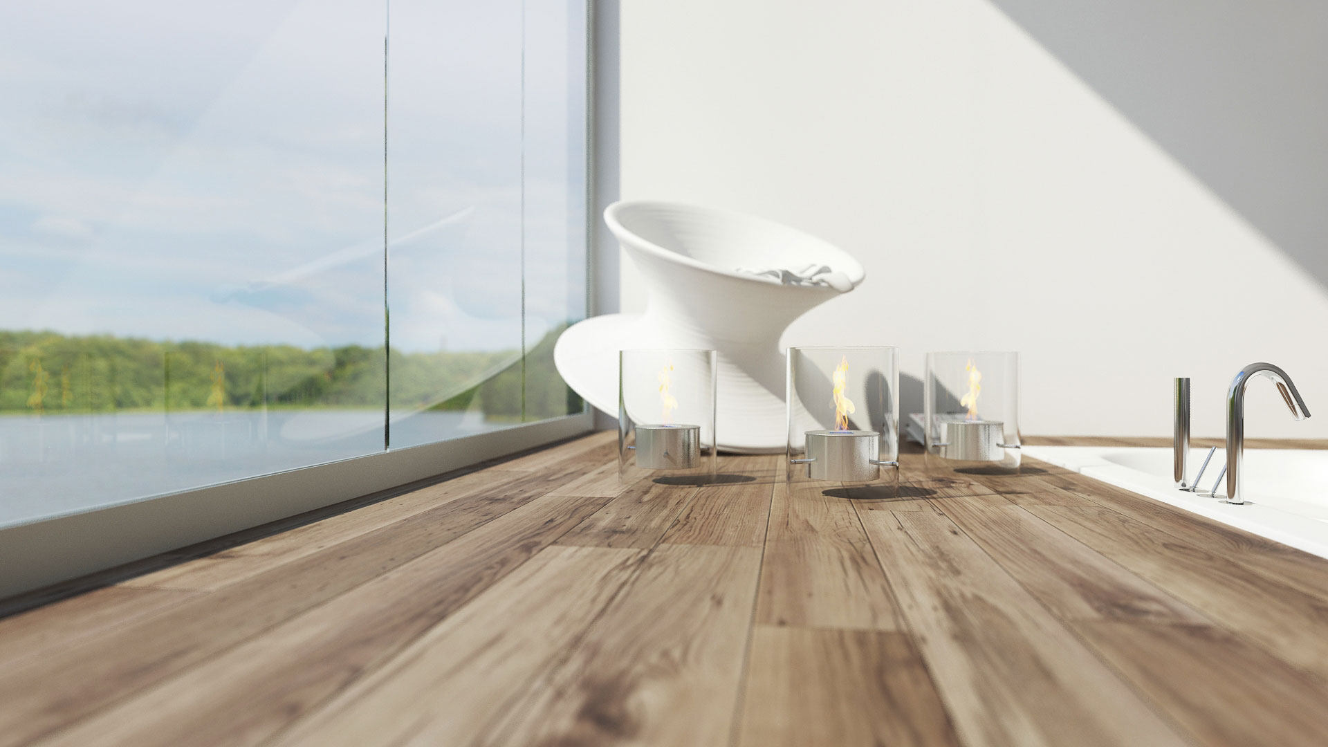image 3d photo realiste, salle de bain photorealiste, Rocking chair Spunchair - Magis, fauteuil spunchair, fauteuil magis, profondeur de champ, 3d profondeur de champ, profondeur de champ vray, image realiste 3ds max, parquet réaliste,