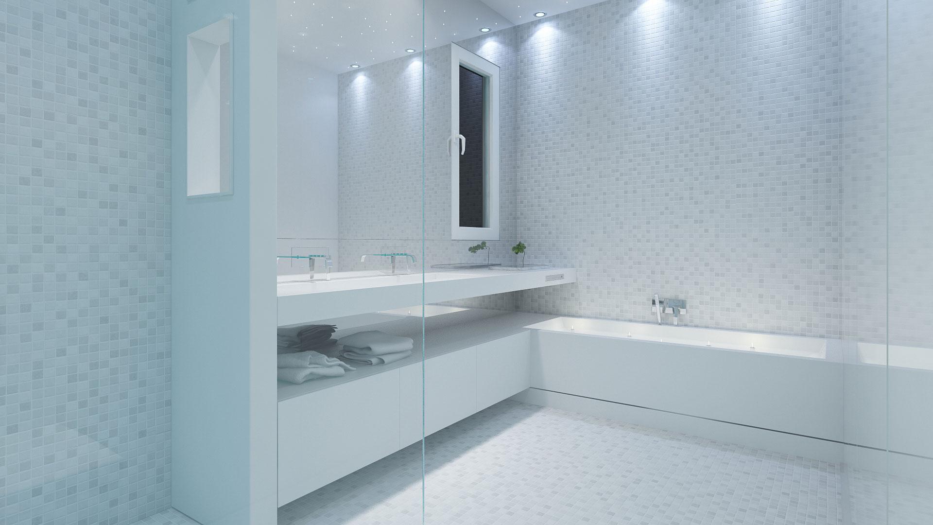 salle de bain design, salle de bain minimaliste, salle de bain contemporaine, salle de bain, salle de bain moderne, mosaique design, plan vasque hi mac, plan vasque lg,