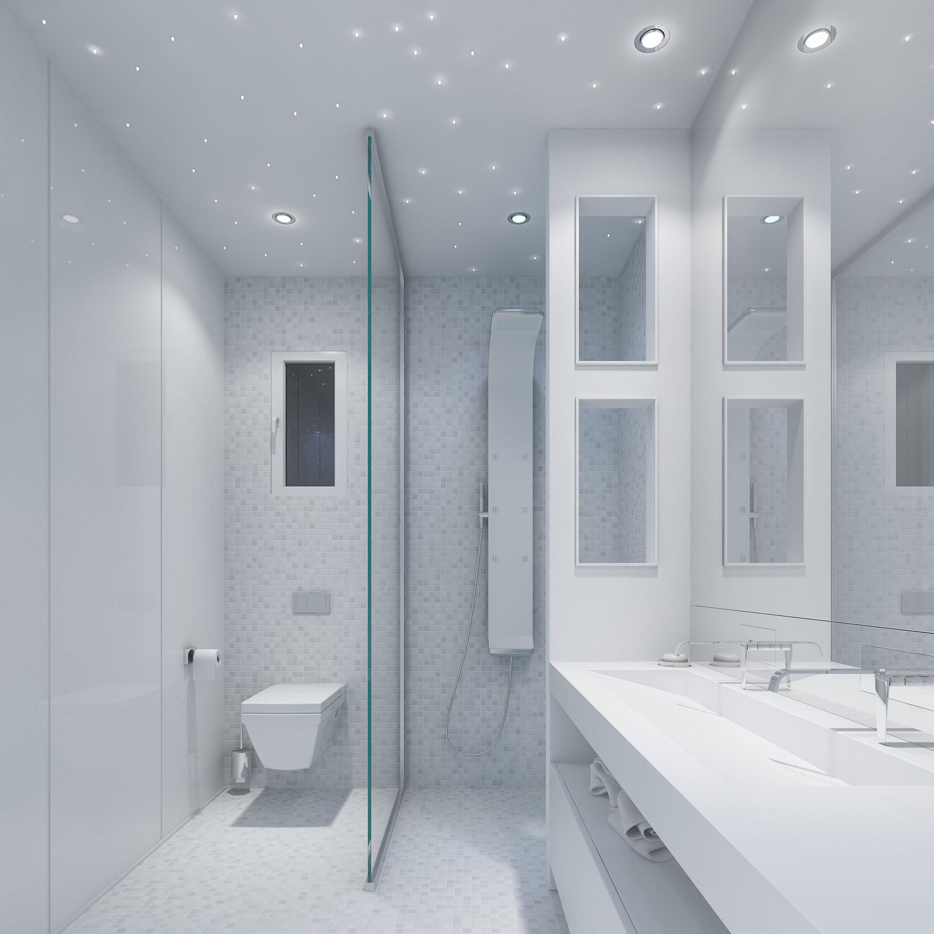 salle bain design, salle de bain blanche, white bathroom, verre laqué blanc, plafond etoilé, plan vasque corian, corian,