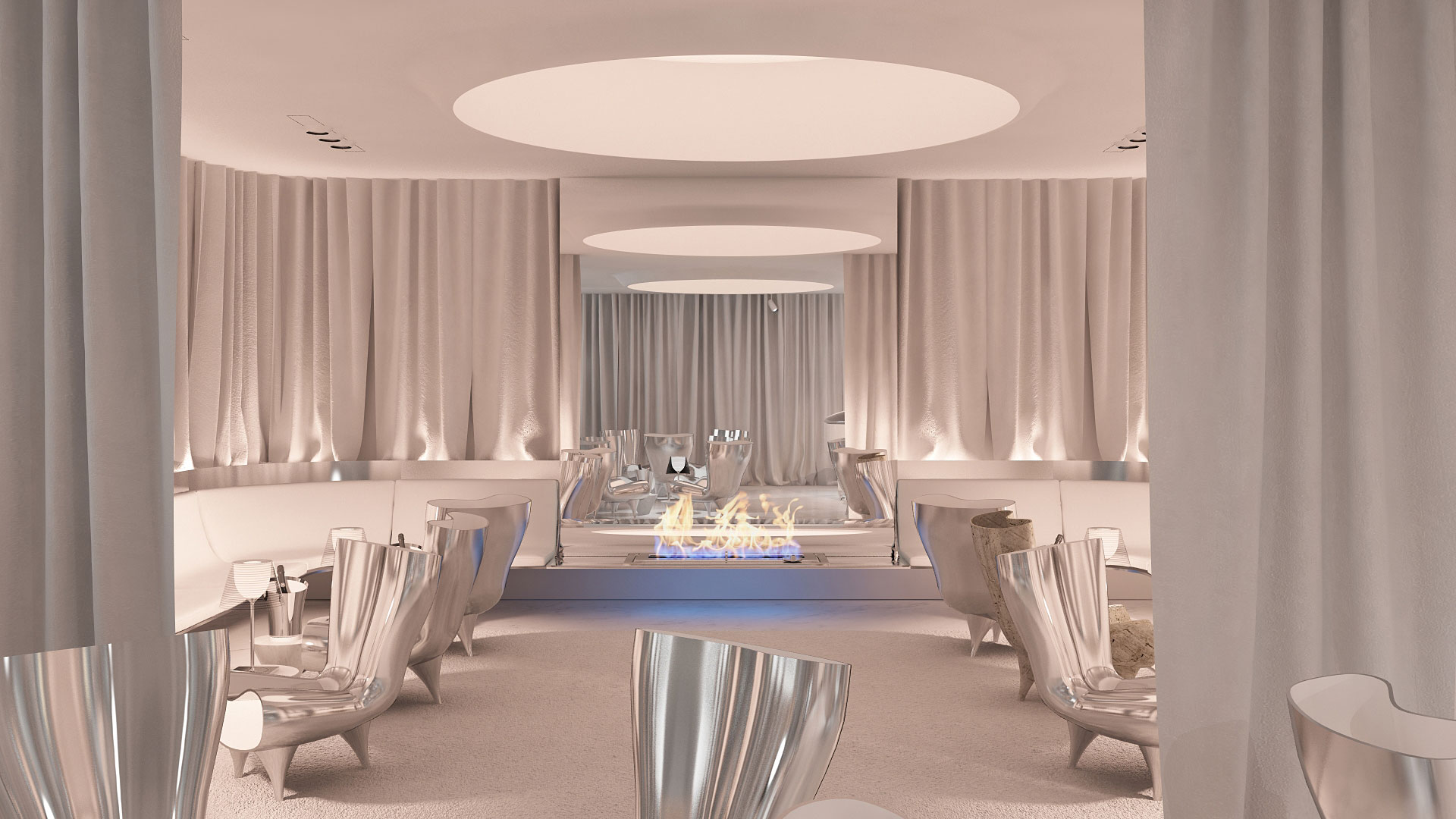 lounge le lirics, lounge, espace lounge design, lounge lyrique, fauteuil orgone marc newson, cheminee, bio ethanole