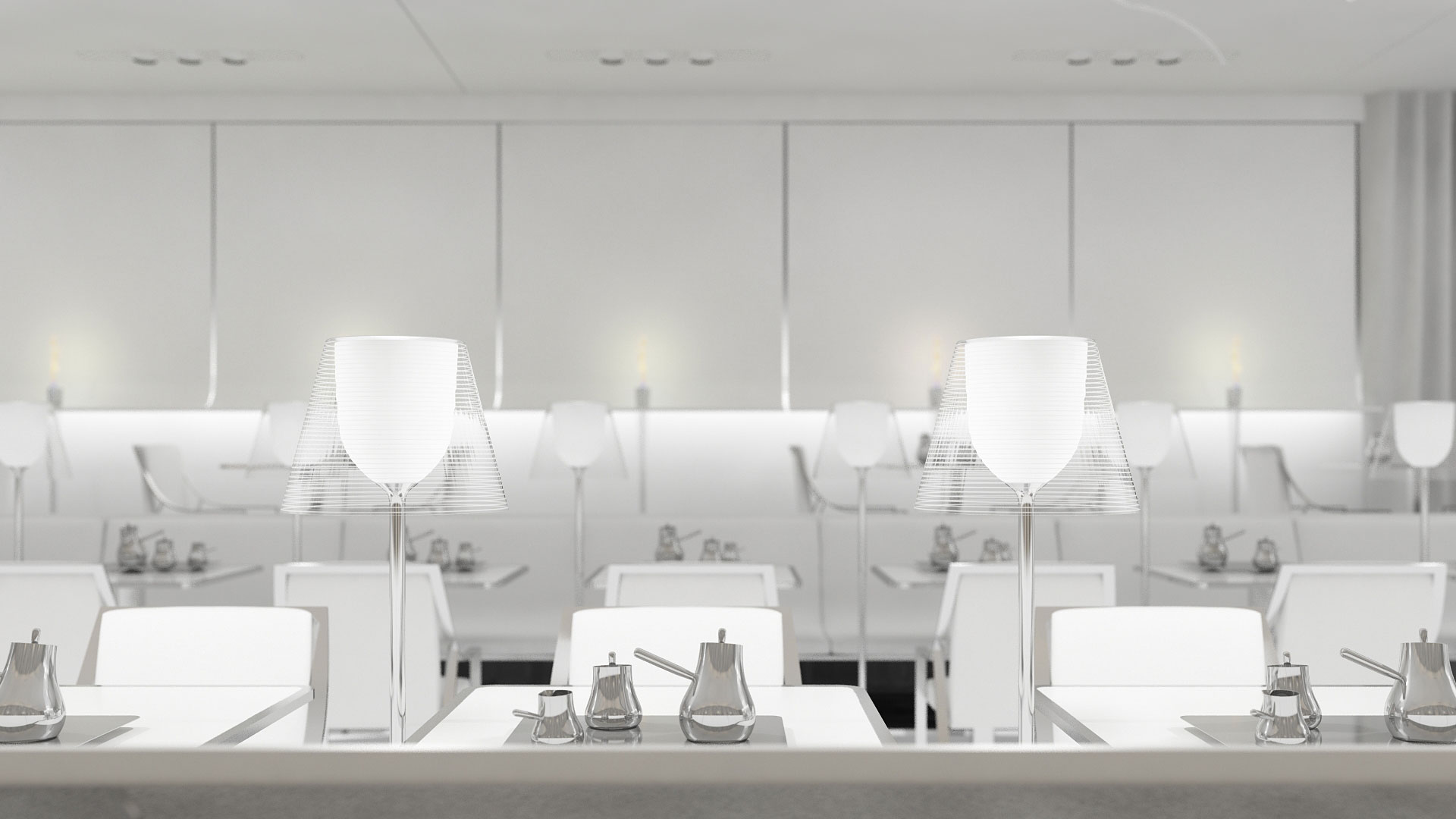 banquette design, restaurant minimaliste, lampadaire ktribe, flos, starck, evermotion 3d model, vray, depth of field, profondeur de champ
